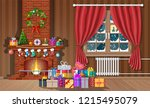 christmas interior of room with ... | Shutterstock .eps vector #1215495079