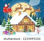 suburban house covered snow.... | Shutterstock .eps vector #1215495103