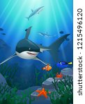 sharks and coral reefs in the... | Shutterstock . vector #1215496120