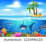 sharks and coral reefs in the... | Shutterstock . vector #1215496123
