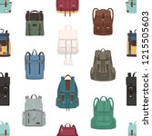 seamless pattern with backpacks ... | Shutterstock .eps vector #1215505603