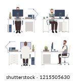 bearded man working on computer ... | Shutterstock .eps vector #1215505630