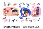 collection of scenes with... | Shutterstock .eps vector #1215505666