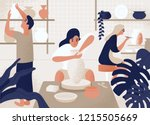 men and women making and... | Shutterstock .eps vector #1215505669