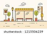 public transport stop  city bus ... | Shutterstock .eps vector #1215506239