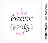 unicorn party vector... | Shutterstock .eps vector #1215509059