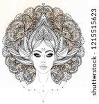 tribal fusion boho diva.... | Shutterstock .eps vector #1215515623
