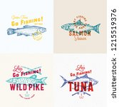 fishing labels set. abstract... | Shutterstock .eps vector #1215519376