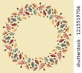 christmas hand drawn wreath... | Shutterstock .eps vector #1215519706