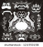 heraldic jaguar set & elegant floral elements