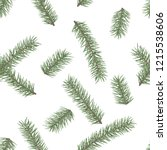 fir branch seamless pattern.... | Shutterstock .eps vector #1215538606