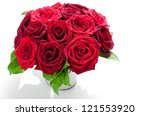 Stock photo red roses bouquet on white background 121553920