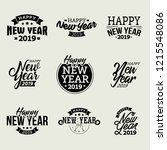 happy new year 2019 typographic ... | Shutterstock .eps vector #1215548086