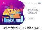 people configure the... | Shutterstock .eps vector #1215562600