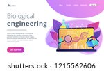 scientists looking at dna and... | Shutterstock .eps vector #1215562606