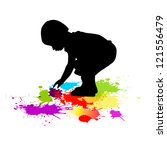 child draws paints | Shutterstock .eps vector #121556479