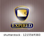 gold shiny emblem with wallet... | Shutterstock .eps vector #1215569383