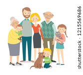 family portrait. big happy... | Shutterstock .eps vector #1215569686
