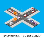 isometric traffic intersection... | Shutterstock . vector #1215576820
