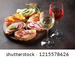 rose and white wine with... | Shutterstock . vector #1215578626