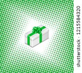 gift box with ribbon and bow on ... | Shutterstock . vector #1215584320