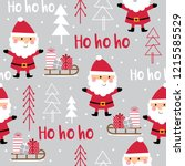 seamless cute santa claus and... | Shutterstock .eps vector #1215585529