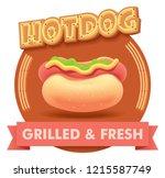 vector hot dog or hotdog icon... | Shutterstock .eps vector #1215587749