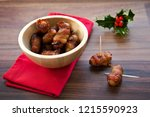 pigs in blankets snack party... | Shutterstock . vector #1215590923