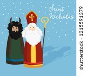cute st. nicholas with devil ... | Shutterstock .eps vector #1215591379