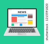 news website on laptop screen.... | Shutterstock .eps vector #1215591820