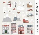 set of cute christmas landscape ... | Shutterstock .eps vector #1215593410