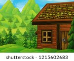 cartoon scene with wooden house ... | Shutterstock . vector #1215602683