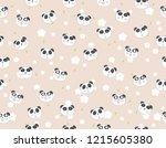 cute panda cartoon seamless... | Shutterstock .eps vector #1215605380