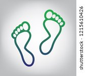 foot prints sign. vector. green ... | Shutterstock .eps vector #1215610426