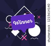 winner dark card with speech... | Shutterstock .eps vector #1215614140