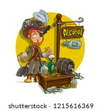 cartoon pirate character with... | Shutterstock .eps vector #1215616369