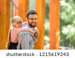 happy young family at the school | Shutterstock . vector #1215619243