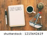 top view 2019 goals list with... | Shutterstock . vector #1215642619
