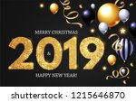 happy new 2019 year  shining... | Shutterstock .eps vector #1215646870