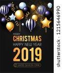 happy new 2019 year  shining... | Shutterstock .eps vector #1215646990
