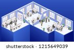 isometric flat 3d abstract... | Shutterstock .eps vector #1215649039