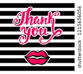 thank you bright card in retro... | Shutterstock . vector #1215656056