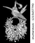 little bird in the peonies. ... | Shutterstock .eps vector #1215657790