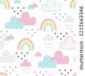 cute hand drawn clouds seamless ...   Shutterstock .eps vector #1215663346
