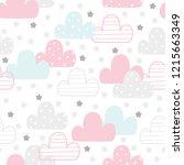 cute hand drawn clouds seamless ...   Shutterstock .eps vector #1215663349