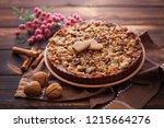 gingerbread tart with apples...   Shutterstock . vector #1215664276