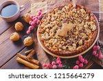 gingerbread tart with apples...   Shutterstock . vector #1215664279