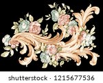 colored baroque floral... | Shutterstock . vector #1215677536