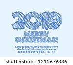 vector merry christmas greeting ... | Shutterstock .eps vector #1215679336