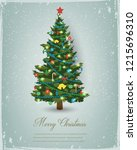 christmas tree with decorations ... | Shutterstock .eps vector #1215696310